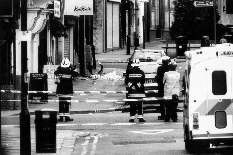 Scene of devastation – Emergency Services cordon off Warrington Town centre after the IRA atrocity
