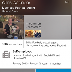 Bad Connection Mk II - Chris Spencer claims to be a Licensed Football Agent in both England & Ukraine.