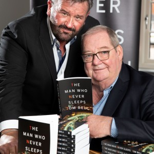 Author David Walker and The Man Who Never Sleeps, Tom Bell (right) at the launch of Tom's autobiography. The Sunday Times described it as '...an engaging read...' with '...some great drama and detail..'